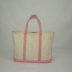 Ralph Lauren Canvas Tote Pink and Beige
